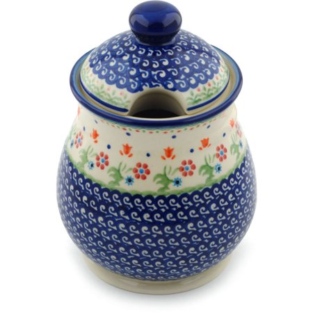 Polish Pottery 8-inch Jar with Lid (Spring Flowers Theme) Hand Painted in Boleslawiec, Poland + Certificate of Authenticity ()