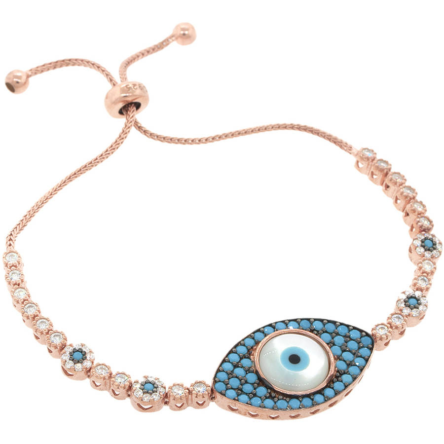 Pori Jewelers Cubic Zirconia 18kt Rose Gold-Plated Sterling Silver Turquoise Evil Eye Friendship Bolo Adjustable... by Best Silver