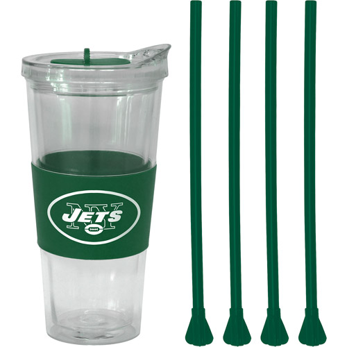 22oz NFL New York Jets Straw Tumbler with 4 Colored Replacement Propeller Straws