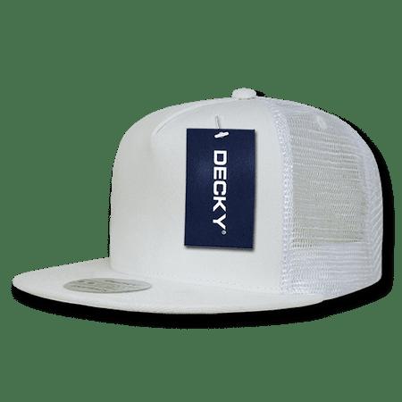 898c982cadbca DECKY Flat Bill Trucker Constructed Baseball Caps Cap Hats For Men Women  White - Walmart.com