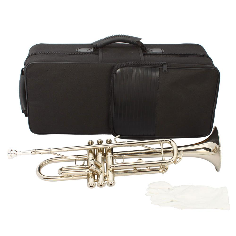 Ktaxon New B Flat Silver Bb Trumpet for Concert Band with Case