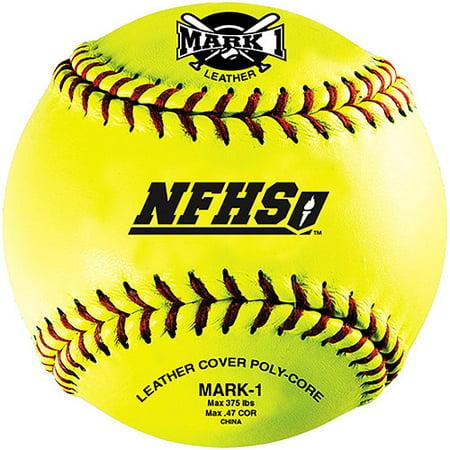 "Mark 1 NFHS 12"" Yellow Fastpitch Softballs, 12 Pack"