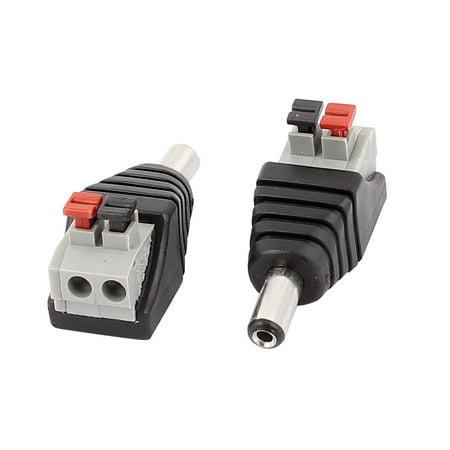 - 2Pcs CCTV Camera Clip Tpe Terminal Block 2.1x5.5mm DC Power Male Jack Plug