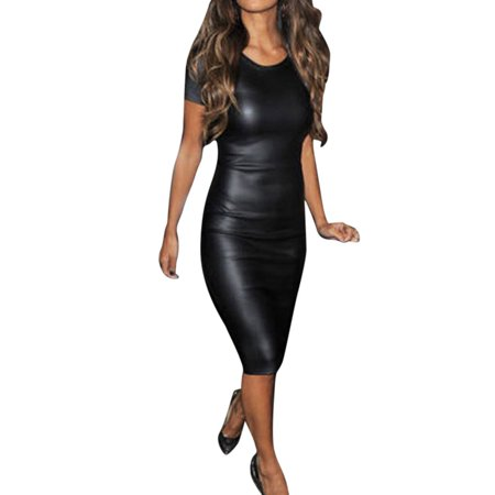 Female Wet Look Faux Leather Bodycon Sheath Attractive Skinny Dress XXL
