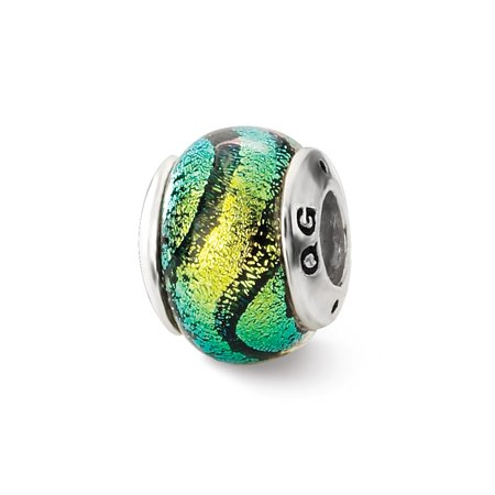 - Sterling Silver Reflections Green Dichroic Glass Bead