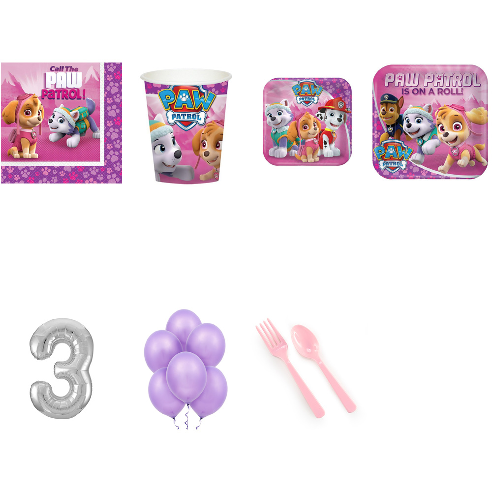 PAW PATROL PARTY SUPPLIES PARTY PACK FOR 32 WITH SILVER #3 BALLOON