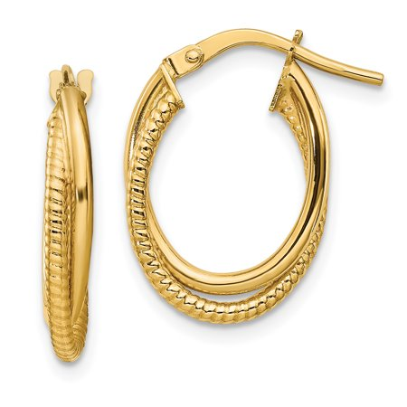 14K Yellow Gold Polished Textured Double Hoops - image 2 de 2