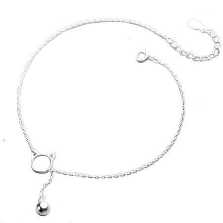Lariat Anklet - Sterling Silver Cat Lariat Anklet