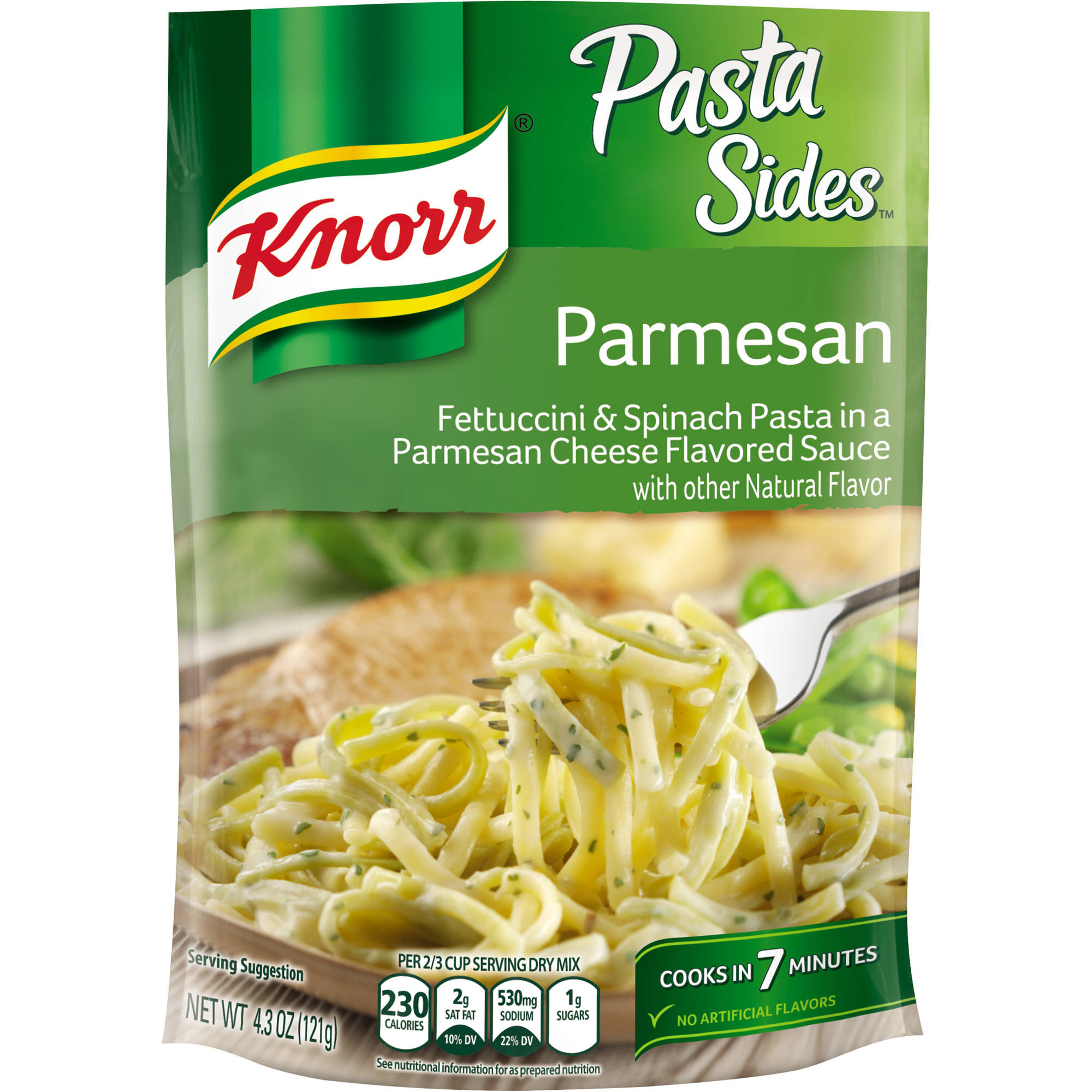Knorr Pasta Sides Fettuccini & Spinach Pasta In A Parmesan Cheese Sauce, 4.3 Oz