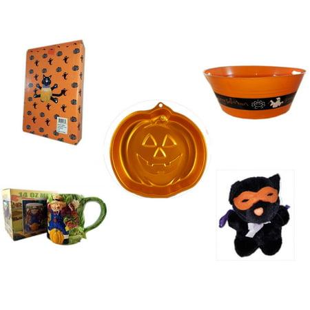 Halloween Fun Gift Bundle [5 Piece] -  Cat Pumpkin Push In 5 Piece Head Arms Legs - 17.75 Inch Orange