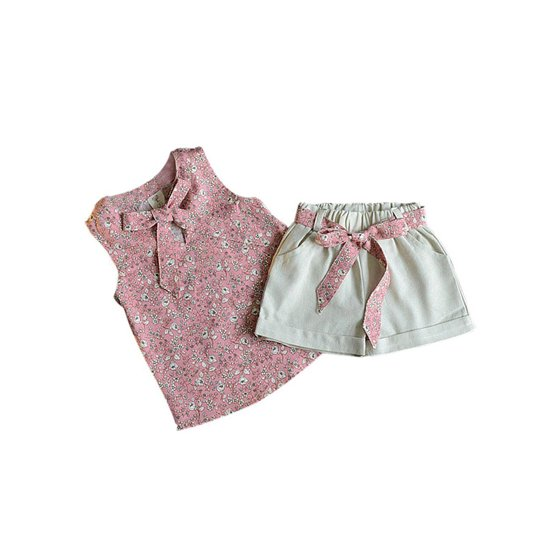 5e949c8ce Esho - Esho Kids Baby Girl Summer Clothes Set Floral T-Shirt Tops+ ...
