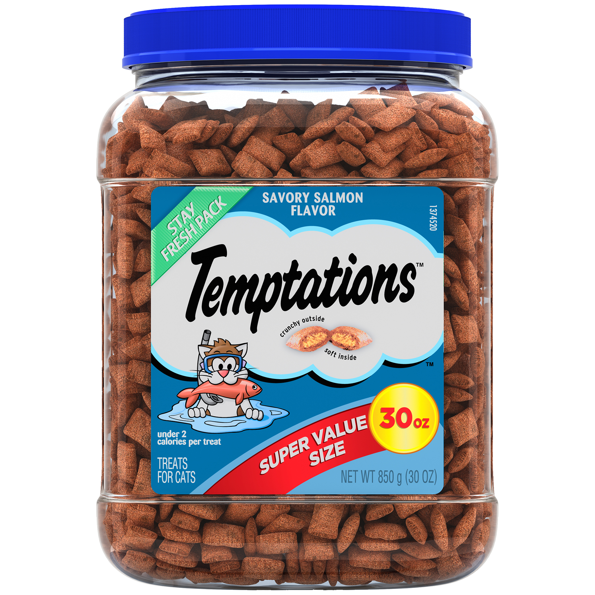 TEMPTATIONS Classic Cat Treats Savory Salmon Flavor, 30 oz. Tub