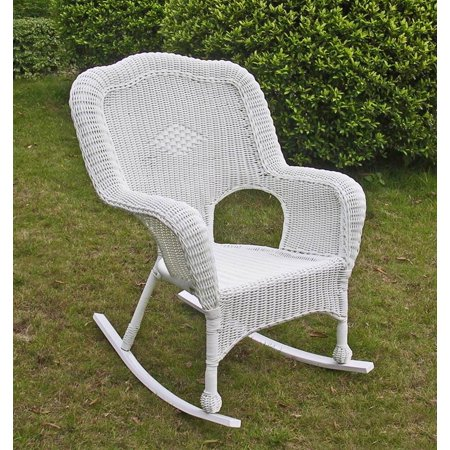 wicker resin steel patio rocking chair white. Black Bedroom Furniture Sets. Home Design Ideas