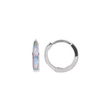 Sterling Silver Rhodium Plated Tapered Simulated Opal Inlay Huggie Hoop Earrings, 11mm