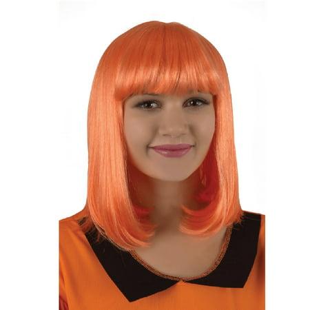 Neon Orange Accessories (Classic Neon Orange Flapper Girl Halloween Wig Costume Accessory- One Size Fits)