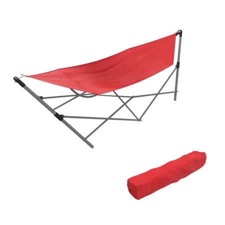 Portable Hammock with Stand-Folds and Fits into Included Carry Bag by Pure Garden -Red