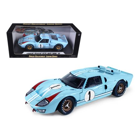 1966 Ford GT-40 MK 2 Blue #1 1/18 Diecast Model Car by Shelby Collectibles ()