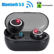 Wireless Bluetooth Stereo Earbuds Headphones, 5.0 Noise Cancelling with Built-in Mic and Charging Case, Hands-free Calling Sweatproof In-Ear Headset  Earpiece Compatible for iPhone Samsung Android