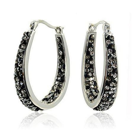 Carly Creations Women's Silver Plated Genuine Crystal Hoop Earrings