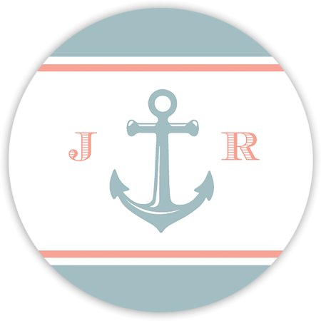 Anchor Monogram - Personalized 1.75 Circle Seal Sticker