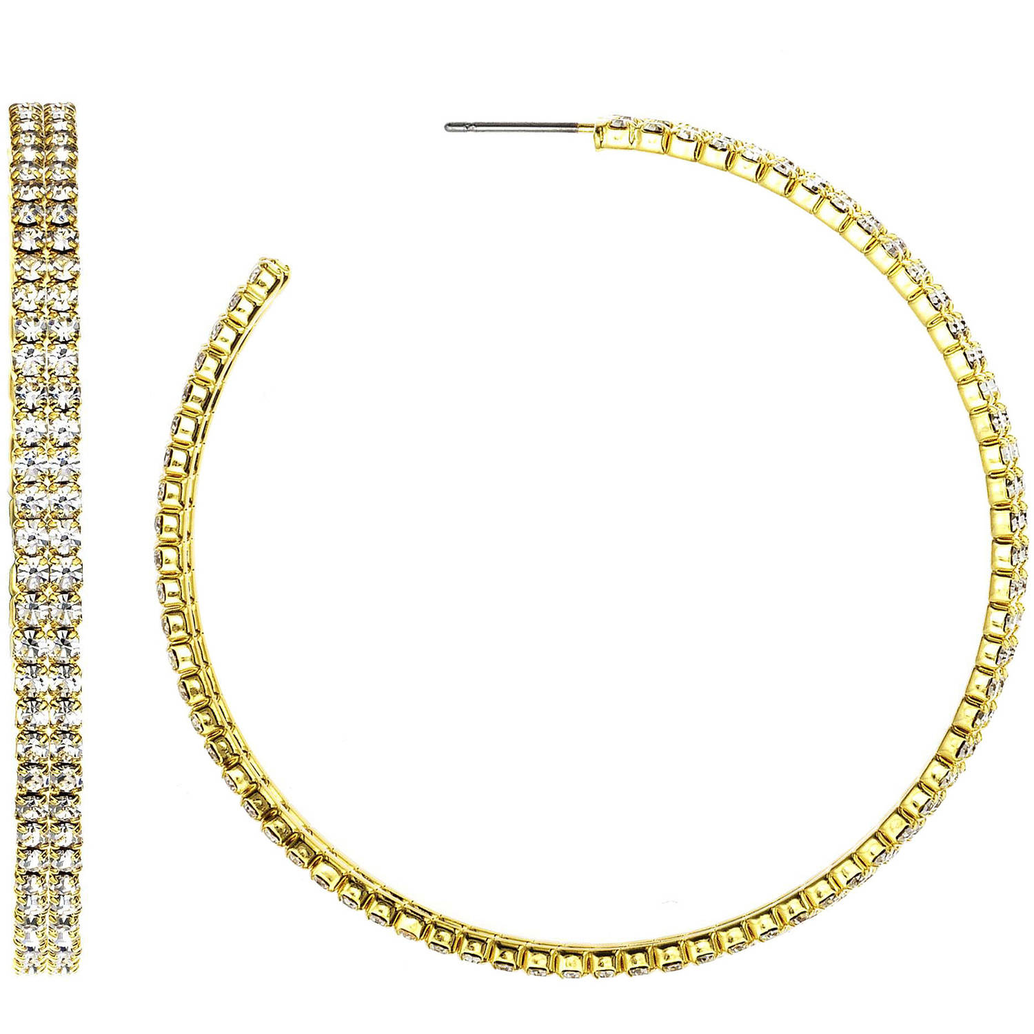 X & O Handset Austrian Crystal 14kt Gold-Plated Double-Row 55mm Hoop Earrings
