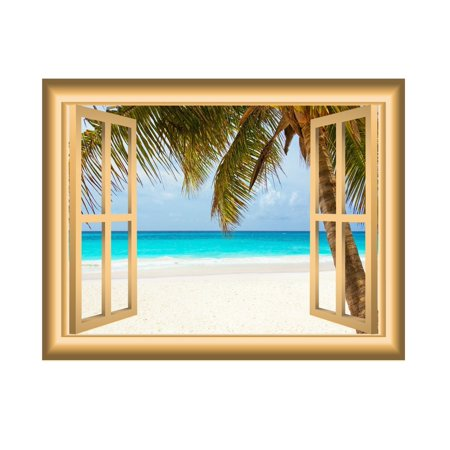 VWAQ Window Frame Wall Decal Beach Scene Ocean Peel and Stick Mural VWAQ-NW5 (18