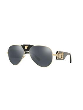 VERSACE Sunglasses VE2150Q 1252/6G Gold-Black / Grey Mirror Black Lens