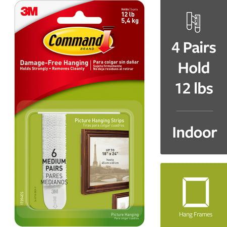 3M Command Brand Damage-Free Hanging Picture Hanging Strips Medium - 6 PR, 6.0 PR