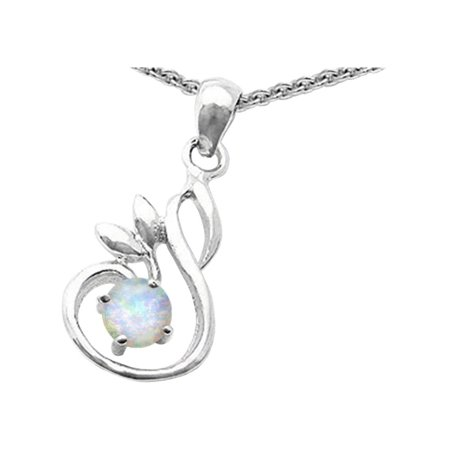 Star K Round Created Opal Swan Pendant Necklace in Sterling Silver
