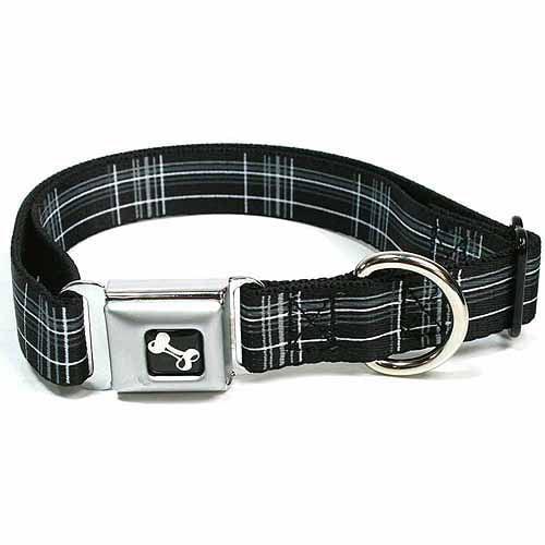 Black White Grey Large Plaid Pattern Fun Animal Seatbelt Pet Collar