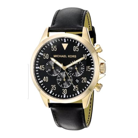 Michael Kors Men's 'Gage' Quartz Stainless Steel and Leather Casual Watch, Color:Black (Model: (Michael Kors Model Number)