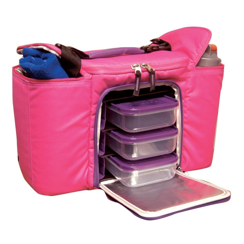 Image of 6 Pack Fitness Innovator 500 Meal Management Bag - Hot Pink/Purple