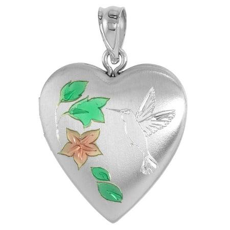 Sterling Silver Heart Locket Necklace Hummingbird 3/4 inch wide