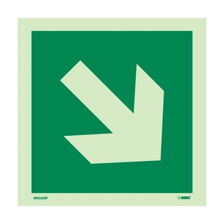 Nmc Signs Imo209p  Imo Directional Arrow Diagonal Sign  6 X 6  6 Hour Glow Polyester