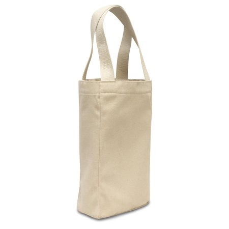Double Bottle Wine Tote (Natural) (One), 10 oz. cotton canvas By Liberty Bags ()