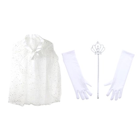 Pretend Play Dress Up Mozlly White Princess Twinkle Star Costume Cape and Mozlly White Royal Princess Wand and Gloves Set (3pc Set)](Twinkle Twinkle Little Star Costume)