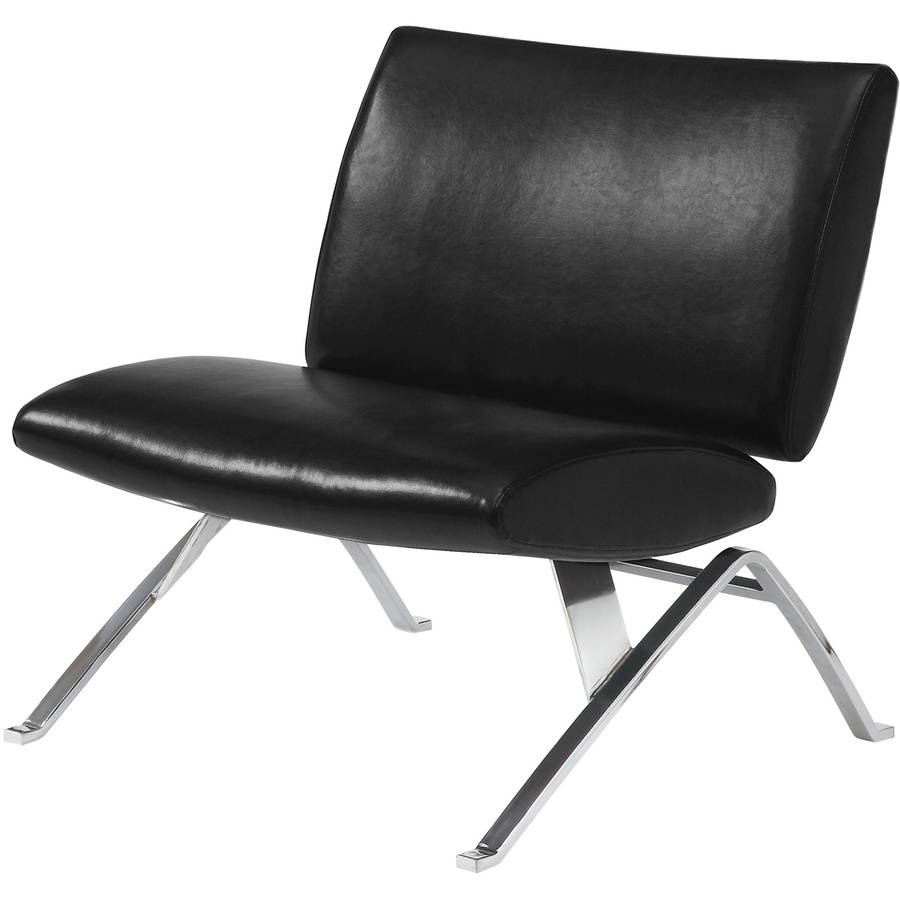leather look accent chair black with chrome metal legs