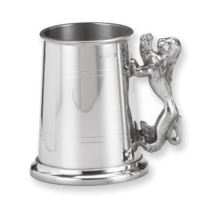 Pewter Glass Bottom - Pewter Lion Handle Glass Bottom 17oz Tankard