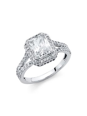 14K Solid White Gold 2.00 cttw Traditional Princess Cut Solitaire Cubic Zirconia Engagement Ring, Size 6.5