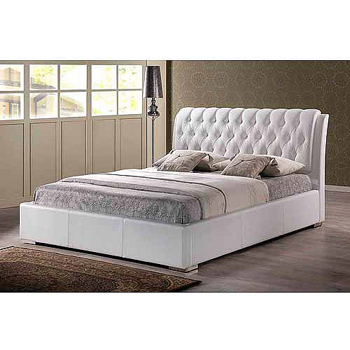 Baxton Studio Bianca Full Modern Bed with Tufted Headboard, White