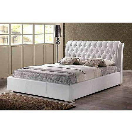 Baxton Studio Bianca Full Modern Bed with Tufted Headboard, (White Bianca Drop)
