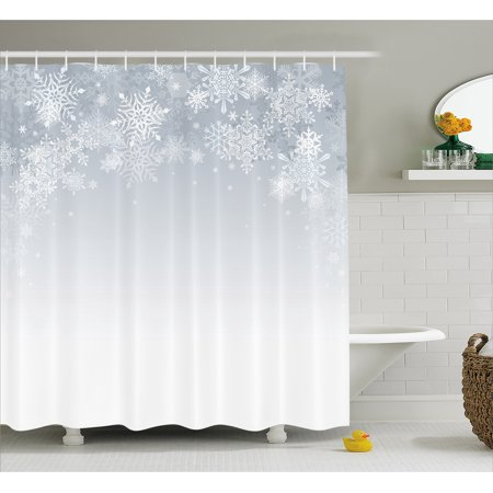 winter decorations shower curtain christmas back with snowflake figures and fairy stars lights magic design
