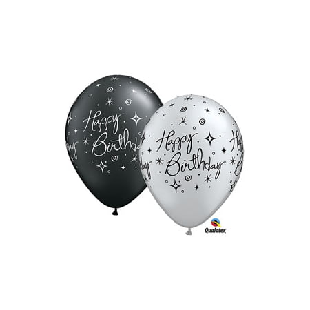 Happy Birthday Elegant Silver and Black 11Inch Latex Balloons 12 - Silver Latex Balloons