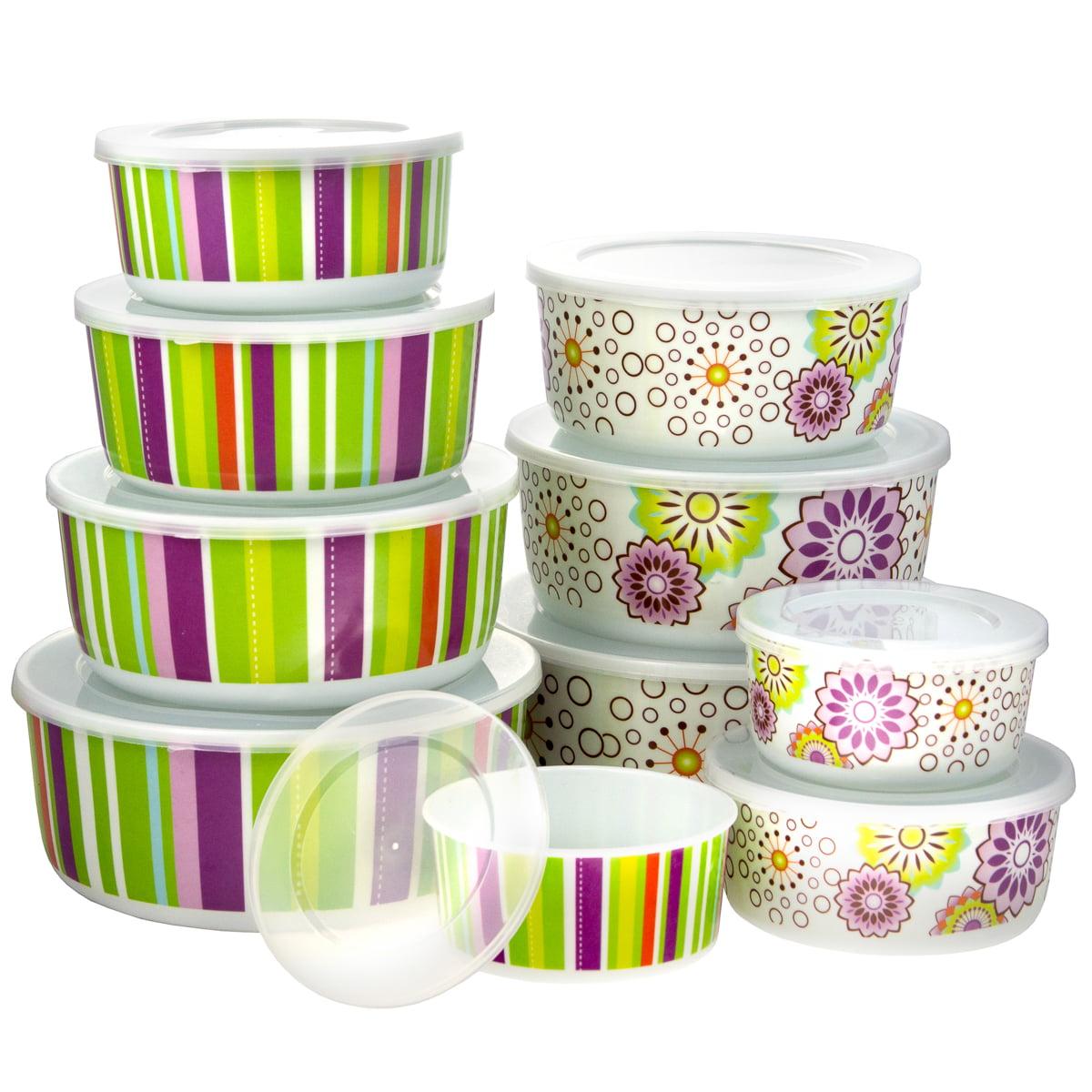 20pc Smart Home Melamine Floral Stripe Lid Nesting Bowl Set 8 43oz