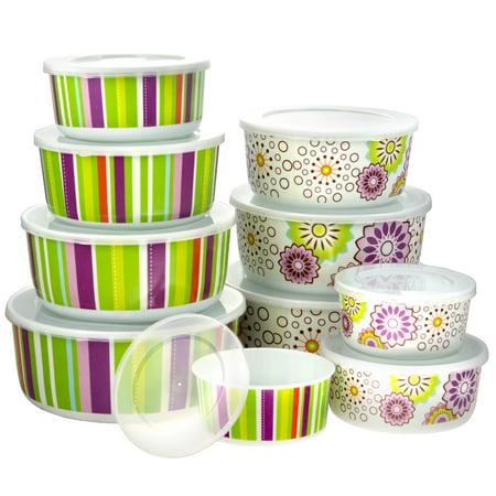 20pc Smart Home Melamine Floral Stripe Lid Nesting Bowl