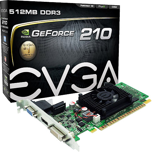 EVGA GeForce 210 512MB DDR3 PCI Express Graphics Card