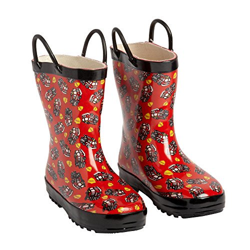 Lilly of New York Boys Red Fire Truck Rubber Rain Boots with Easy-On Handles (8)
