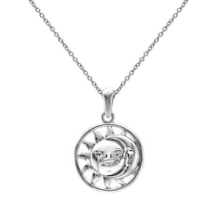 Sterling Silver Yin Yang Celestial Sun and Crescent Moon Pendant Necklace, - Sun And Moon Friendship Necklace