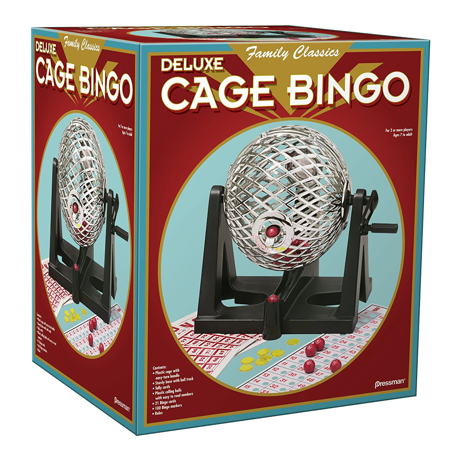 Deluxe Cage Bingo, vary goods Metal Parallel Wire Lotto Craftsman Deluxe Cards in 16 For Marker Silver Game... by
