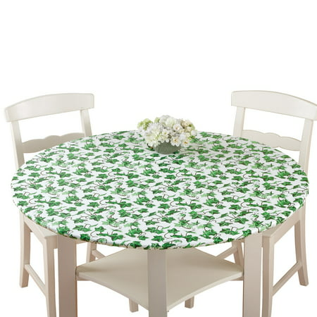 Collections Etc. Patterned Fitted Table Cover with Soft Flannel Backing and Durable Wipe-Clean Vinyl Construction, Oval, Ivy - Cheap Table Covers